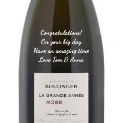 Personalised Bollinger La Grande Annee Vintage Rose