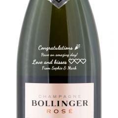 Personalised Bollinger Rose Non Vintage Champagne