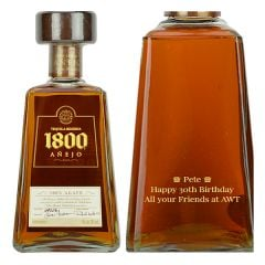 Engraved text on a bottle of Personalised 1800 Anejo Tequila 70cl
