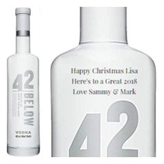 Engraved text on a bottle of Personalised 42 Below Pure Vodka 70cl