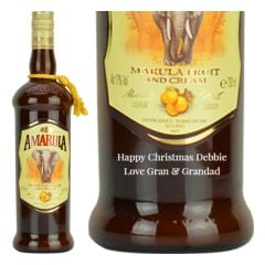 Engraved text on a bottle of Personalised Amarula Cream Liqueur 70cl