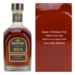 Engraved text on a bottle of Personalised Angostura 12 Year Old 1824 Rum 70cl