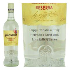 Engraved text on a bottle of Personalised Angostura Reserva 3 Year Old White Rum 70cl