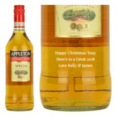 Engraved text on a bottle of Personalised Appleton Estate Special Gold Rum 70cl