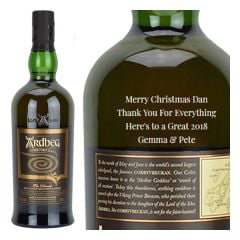 Engraved text on a bottle of Personalised Ardbeg Corryvreckan Whisky 70cl