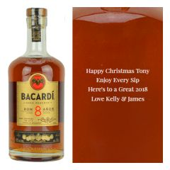 Engraved text on a bottle of Personalised Bacardi 8 Year Old Rum 70cl