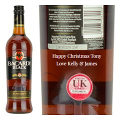 Engraved text on a bottle of Personalised Bacardi Black Rum 70cl