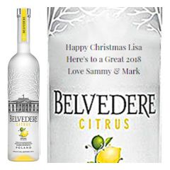 Engraved text on a bottle of Personalised Belvedere Cytrus Vodka 70cl