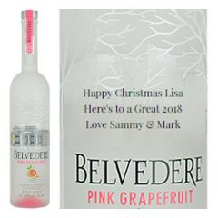 Engraved text on a bottle of Personalised Belvedere Pink Grapefruit Vodka 70cl
