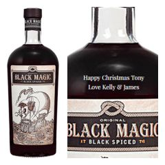 Engraved text on a bottle of Personalised Black Magic Spiced Rum 70cl