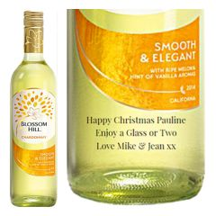 Engraved text on a bottle of Personalised Blossom Hill Chardonnay White Wine 75cl