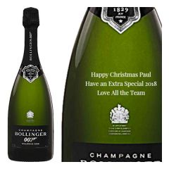 Engraved text on a bottle of Personalised Bollinger James Bond 007 Spectre Champagne 75cl