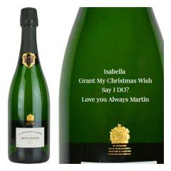 Engraved text on a bottle of Personalised Bollinger La Grande Annee Magnum Vintage Champagne 150cl