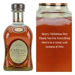 Engraved text on a bottle of Personalised Cardhu Gold Reserve Whisky 70cl
