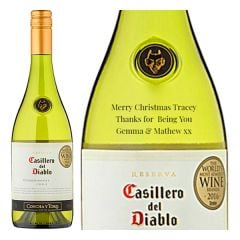 Engraved text on a bottle of Personalised Casillero del Diablo Reserva Chardonnay Wine 75cl