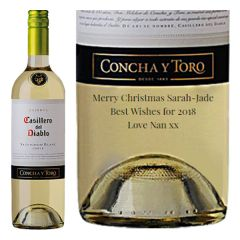 Engraved text on a bottle of Personalised Casillero Del Diablo Sauvignon Blanc Wine 75cl