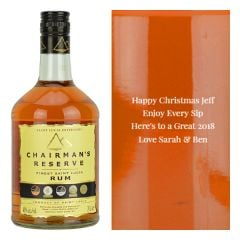 Engraved text on a bottle of Personalised Chairman's Reserve Finest St Lucia Rum 70cl