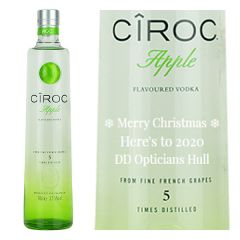Engraved text on a bottle of Personalised Ciroc Apple Vodka 70cl