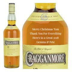 Engraved text on a bottle of Personalised Cragganmore 12 Year Old Whisky 70cl