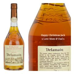 Engraved text on a bottle of Personalised Delamain Pale & Dry XO Cognac 70cl