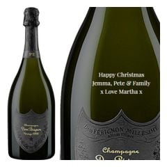 Engraved text on a bottle of Personalised Dom Perignon P2 (Oenotheque) Engraved Champagne 75cl