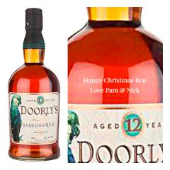 Engraved text on a bottle of Personalised Doorly's 12 Year Old Rum 70cl