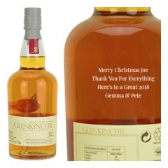 Engraved text on a bottle of Personalised Glenkinchie 12 Year Old Whisky 70cl