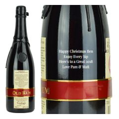 Engraved text on a bottle of Personalised Goslings Family Reserve Rum 70cl