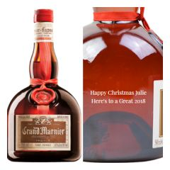 Engraved text on a bottle of Personalised Grand Marnier Liqueur 50cl