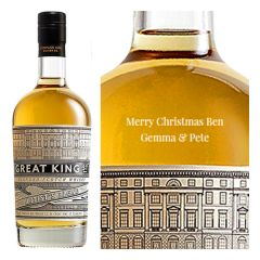 Engraved text on a bottle of Personalised Great King Street Artists Blend Whisky 70cl