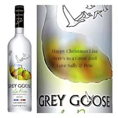 Engraved text on a bottle of Personalised Grey Goose La Poire Vodka 70cl