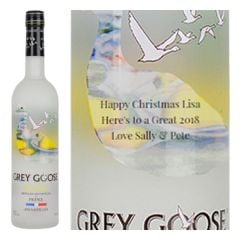 Engraved text on a bottle of Personalised Grey Goose Le Citron Vodka 70cl