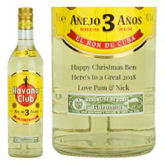 Engraved text on a bottle of Personalised Havana Club 3 Year Old Rum 70cl