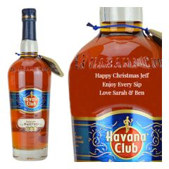 Engraved text on a bottle of Personalised Havana Club Seleccion de Maestros Rum 70cl