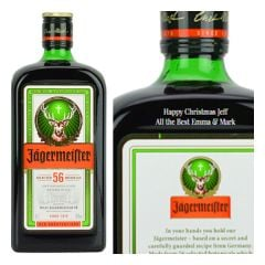 Engraved text on a bottle of Personalised Jagermeister Herbal Liqueur 70cl