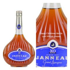 Engraved text on a bottle of Personalised Janneau XO Brandy 70cl