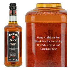 Engraved text on a bottle of Personalised Jim Beam Black Label Whiskey 70cl