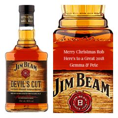 Engraved text on a bottle of Personalised Jim Beam Devil's Cut Bourbon 70cl