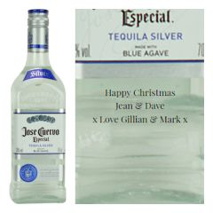 Engraved text on a bottle of Personalised Jose Cuervo Silver Tequila 70cl