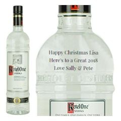 Engraved text on a bottle of Personalised Ketel One Vodka 70cl