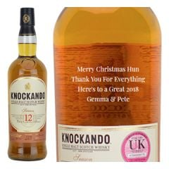 Engraved text on a bottle of Personalised Knockando 12 Year Old Whisky 70cl