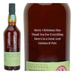 Engraved text on a bottle of Personalised Lagavulin Distillers Edition Whisky 70cl