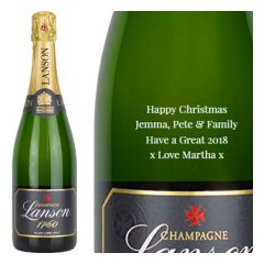 Engraved text on a bottle of Personalised Lanson Black Label Magnum Champagne 150cl