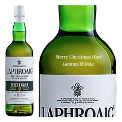Engraved text on a bottle of Personalised Laphroaig Select Whisky 70cl