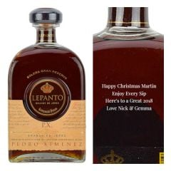 Engraved text on a bottle of Personalised Lepanto Solera Gran Reserva Brandy de Jerez Pedro Ximenez Cask Matured Brandy 70cl