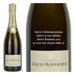 Engraved text on a bottle of Personalised Louis Roederer Brut Premier Champagne 75cl