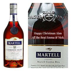 Engraved text on a bottle of Personalised Martell Cordon Bleu Cognac 70cl