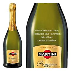 Engraved text on a bottle of Personalised Martini Prosecco 75cl