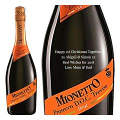Engraved text on a bottle of Personalised Mionetto Prosecco DOCG 75cl