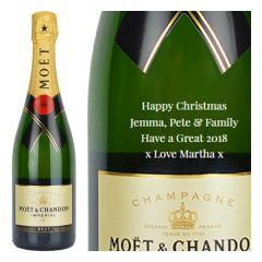 Engraved text on a bottle of Personalised Moet and Chandon Brut Imperial Magnum Champagne 150cl